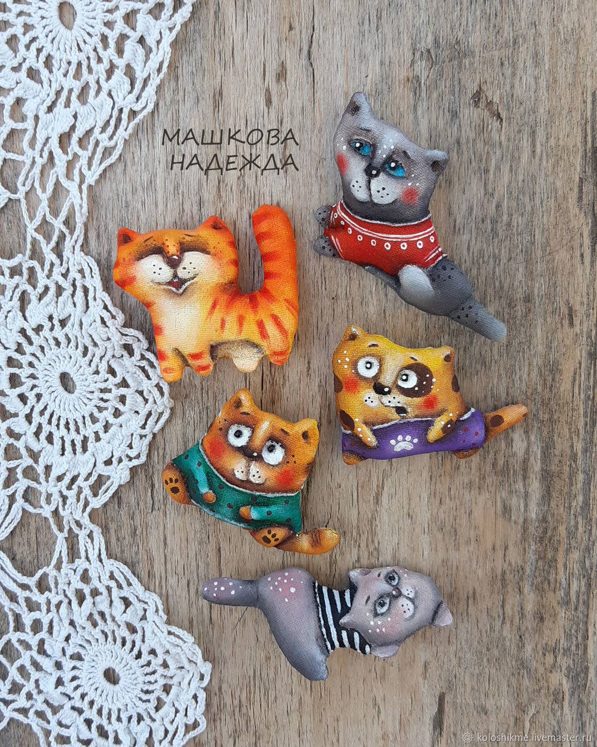 Cat Brooches textile handmade Primed textile Cat, Brooches, Chelyabinsk,  Фото №1