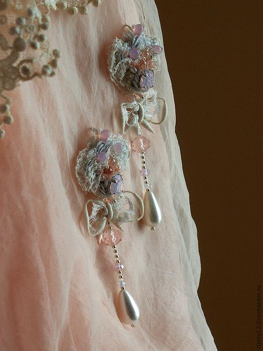 """Серьги ручной работы. Ярмарка Мастеров - ручная работа. Купить Серьги """"Lacy meringue"""". Handmade. Бледно-розовый, кружевные серьги"""