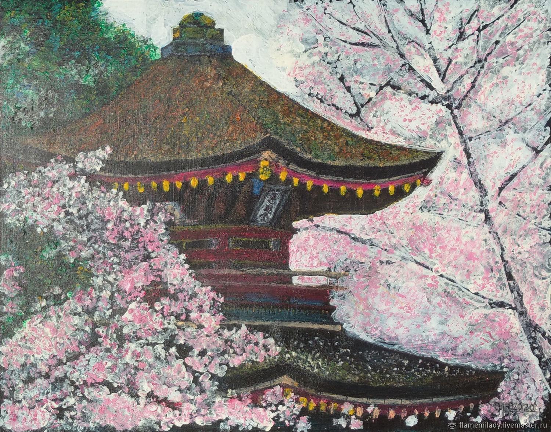 Landscape with oil pastel ' Sakura blooms', Pictures, Ekaterinburg,  Фото №1