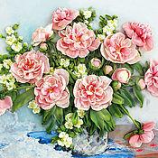 Картины и панно handmade. Livemaster - original item Ribbon embroidery Bouquet of peonies. Handmade.