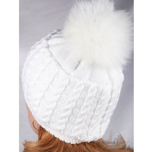 Hats handmade. Livemaster - handmade. Buy White knitted hat with pompom.Hat knitted, winter hat, real fur