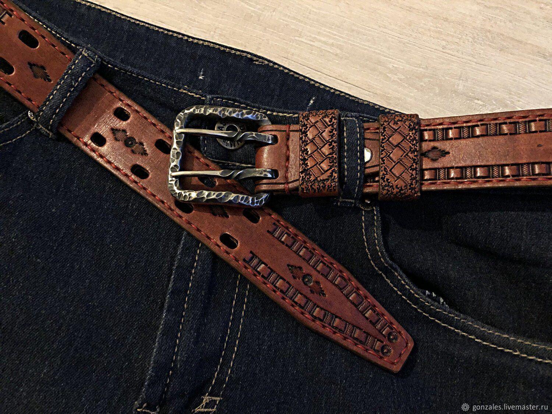 Ремень мужской кожаный под джинсы. Тиснение. Кованая пряжка, Ремни, Санкт-Петербург,  Фото №1