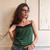 Одежда ручной работы. Ярмарка Мастеров - ручная работа Шелковый топ зеленый. Handmade.