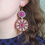 Украшения handmade. Livemaster - original item Earrings made of beads and Swarovski crystals Faina. Braided earrings.. Handmade.