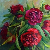 Картины и панно handmade. Livemaster - original item Burgundy peonies Painting is oil on canvas 35 by 40 cm. Handmade.