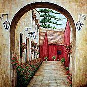 """Картины и панно ручной работы. Ярмарка Мастеров - ручная работа Картина """"Улочка в Санта-Каталине"""" акварель. Handmade."""