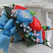 """Свадебный салон ручной работы. Ярмарка Мастеров - ручная работа Букет из конфет """"Королевская особа"""" зонтик из конфет свадьба голубой. Handmade."""