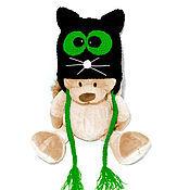 """Работы для детей, ручной работы. Ярмарка Мастеров - ручная работа Шапочка """"Кот"""" (детская шапка кот зимняя теплая вязаная черный). Handmade."""