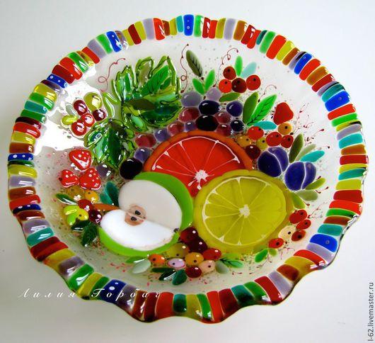 Тарелки ручной работы. Ярмарка Мастеров - ручная работа. Купить блюдо из стекла, фьюзинг  Вкусная жизнь. Handmade. Разноцветный