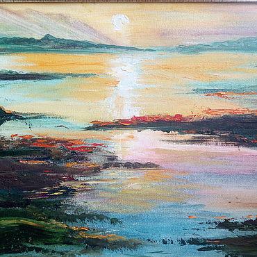 """Картины и панно ручной работы. Ярмарка Мастеров - ручная работа Пейзаж, выполненный маслом на картоне """"Рассвет"""" в раме сере. Handmade."""