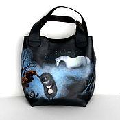 """Кожаная сумка """"Ёжик в тумане и лошадь"""""""