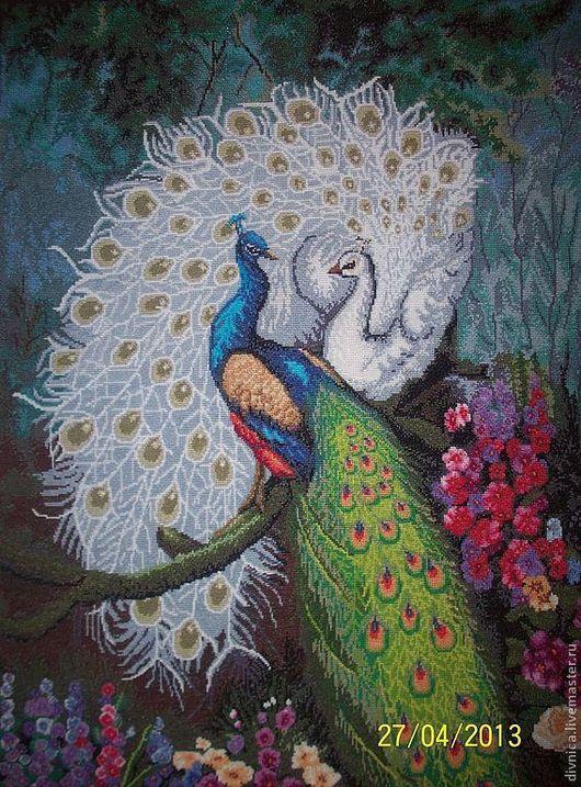 """Животные ручной работы. Ярмарка Мастеров - ручная работа. Купить """"Павлины"""" вышитая картина. Handmade. Павлин, павлины, вышивка"""