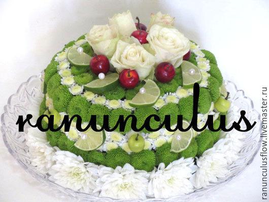 """Букеты ручной работы. Ярмарка Мастеров - ручная работа. Купить Торт из цветов """"Лайм"""". Handmade. Комбинированный, тортик"""