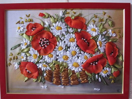 Картины цветов ручной работы. Ярмарка Мастеров - ручная работа. Купить Картина Маки и ромашки. Handmade. Ярко-красный