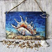 Картины и панно handmade. Livemaster - original item Oil Painting Mural Mural Landscape Beach Sea SHELL. Handmade.
