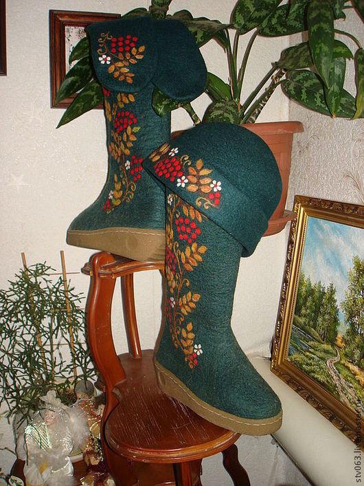 Обувь ручной работы. Ярмарка Мастеров - ручная работа. Купить Валенки женские. Handmade. Разноцветный, валенки ручной валки