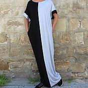 Одежда ручной работы. Ярмарка Мастеров - ручная работа Черно-серое длинное макси платье, кафтан, абайя, ручная работа. Handmade.