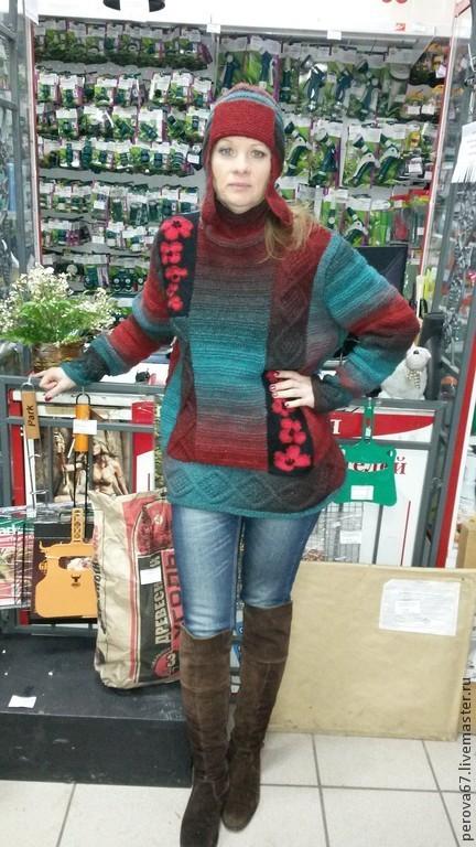 Кофты и свитера ручной работы. Ярмарка Мастеров - ручная работа. Купить Свитер из пряжи Дундага Ночной цветок. Handmade.