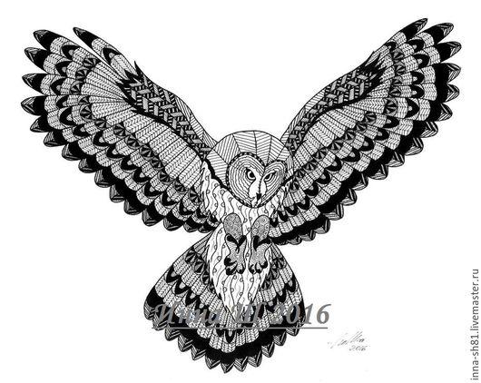 Животные ручной работы. Ярмарка Мастеров - ручная работа. Купить Сова. Handmade. Чёрно-белый, птица, животные, графика