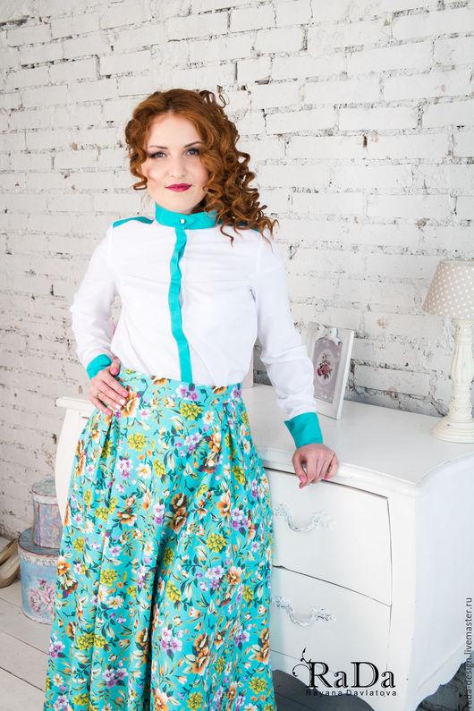 Блузки ручной работы. Ярмарка Мастеров - ручная работа. Купить Блузка, рубашка 44 размера. Handmade. Комбинированный, вискоза