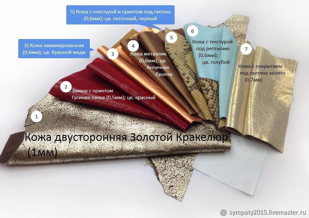 Натуральная кожа куски. Набор кожи для украшений №69, Кожа, Москва,  Фото №1