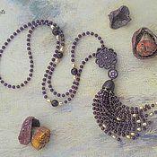 Украшения handmade. Livemaster - original item Luxury Stylish Tassel Long Necklace with Natural Amethyst and Pearls. Handmade.