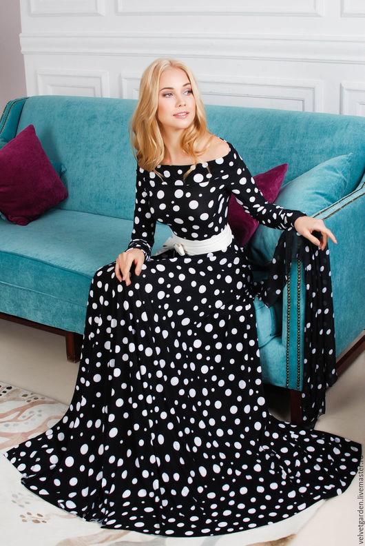 платье длинное в пол, платье в горошек, нарядное платье, осень 2015