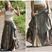 """Одежда ручной работы. Ярмарка Мастеров - ручная работа юбка из льна в стиле бохо """"Запах полыни"""". Handmade."""