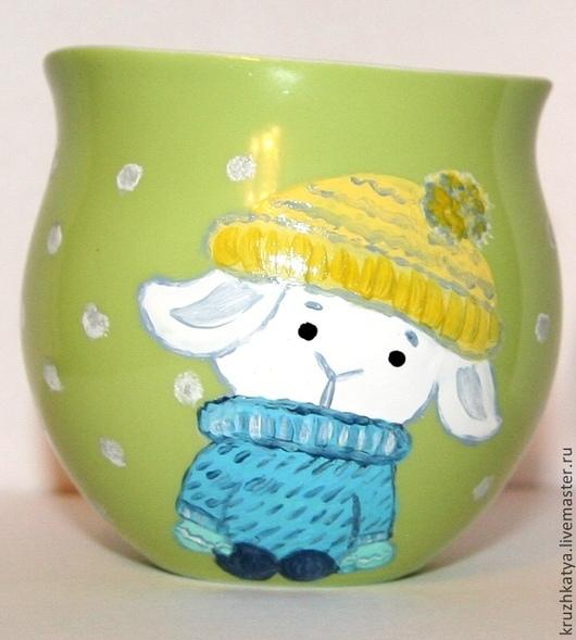 """Кружки и чашки ручной работы. Ярмарка Мастеров - ручная работа. Купить Кружка с овечкой """"Бяша 2"""". Handmade. Фарфор"""