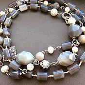 Украшения handmade. Livemaster - original item Necklace in GRIS DE PERLE agate,pearl,mother of pearl. Handmade.