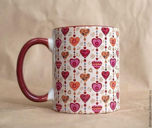 """Подарки для влюбленных ручной работы. Ярмарка Мастеров - ручная работа. Купить Чашка """"Сердечки"""". Handmade. Бордовый, сердца, любимомму, кружка"""