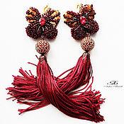 Украшения handmade. Livemaster - original item Embroidery brush earrings take Off. Handmade.