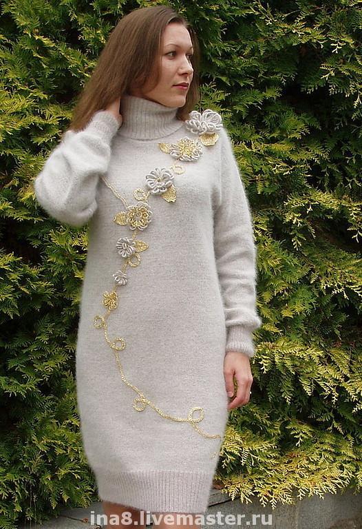 Платья ручной работы. Ярмарка Мастеров - ручная работа. Купить Вязаное платье из ангорки  цвета льна Antik style. Handmade.