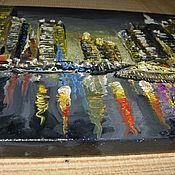 """Картины и панно ручной работы. Ярмарка Мастеров - ручная работа Картина масло,холст """"Ночной город"""". Handmade."""