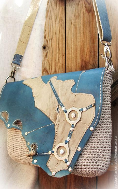 Женские сумки ручной работы. Ярмарка Мастеров - ручная работа. Купить Сумка вязание и кожа Голубая лагуна. Handmade. Голубой