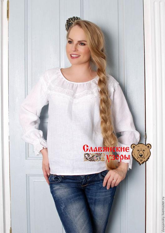 Блузки ручной работы. Ярмарка Мастеров - ручная работа. Купить Блуза Льняная с кружевом. Handmade. Белый, блузка, кружевная