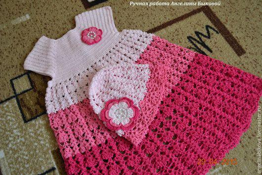 """Одежда для девочек, ручной работы. Ярмарка Мастеров - ручная работа. Купить Вязанный комплект для девочки """"Малиновое счастье"""". Handmade. Розовый"""