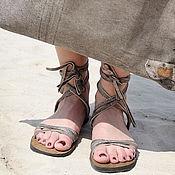 """Обувь ручной работы. Ярмарка Мастеров - ручная работа Кожаные сандали в греческом стиле """"Серые римлянки"""". Handmade."""