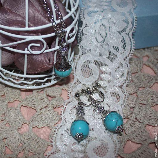 Комплект украшений клипсы и кулон на цепочке `Волшебный эликсир`   клипсы=4,2 см кулон=4,2см. цепочка=52см.