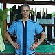 """Для мужчин, ручной работы. Ярмарка Мастеров - ручная работа. Купить Рубаха льняная с коротким рукавом """"Костяника"""". Handmade. Голубой"""