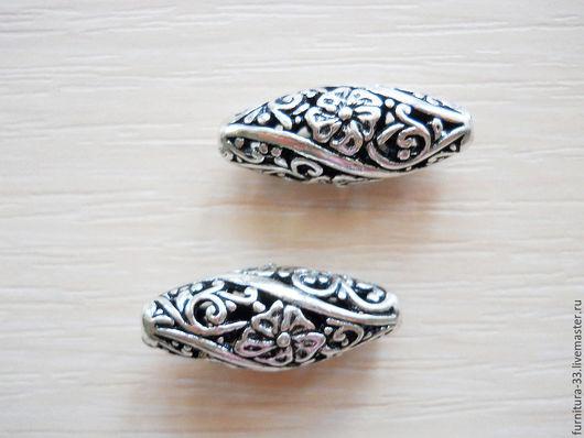 Для украшений ручной работы. Ярмарка Мастеров - ручная работа. Купить Бусина металлическая  ажурная 25 х 10 мм под серебро.. Handmade.