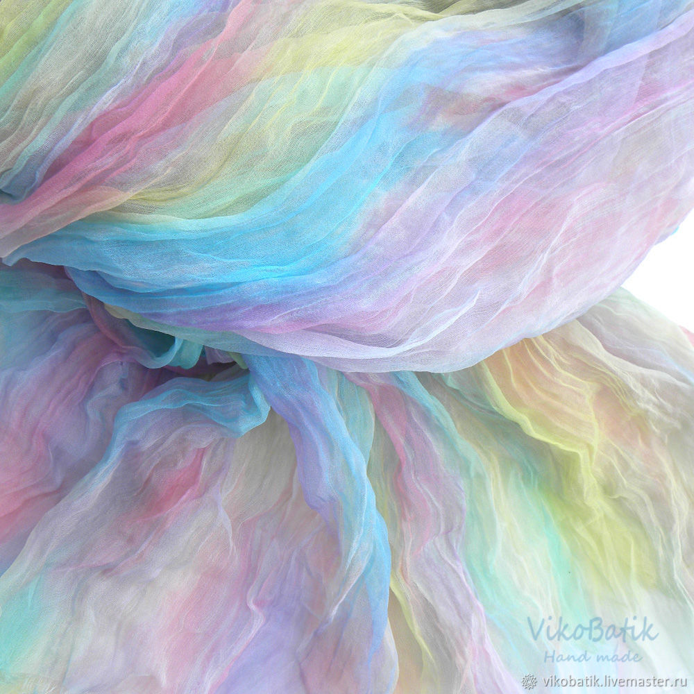 Colored stole batik 'Mood' Pressed scarf silk 100%, Scarves, Kislovodsk,  Фото №1