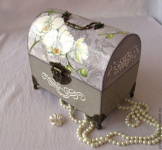 """Шкатулки ручной работы. Ярмарка Мастеров - ручная работа. Купить Сундучок """"Королевские орхидеи"""". Handmade. Серый, шкатулка деревянная, орхидея"""