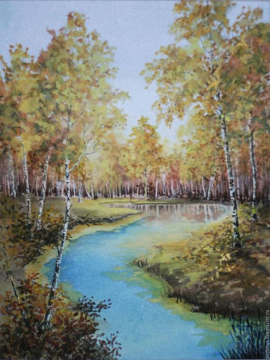 Картина на шелке, акварель на шелке, пейзаж, осенний пейзаж, картина для души, картина в подарок, автор Вячеслав Захаров