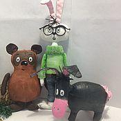 Куклы и игрушки ручной работы. Ярмарка Мастеров - ручная работа Ёлочные игрушки Винни Пух и друзья. Handmade.