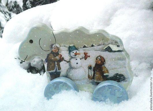 """Подарки для новорожденных, ручной работы. Ярмарка Мастеров - ручная работа. Купить Овечка """"Снежинка"""". Handmade. Голубой, овечка игрушка, снежинка"""