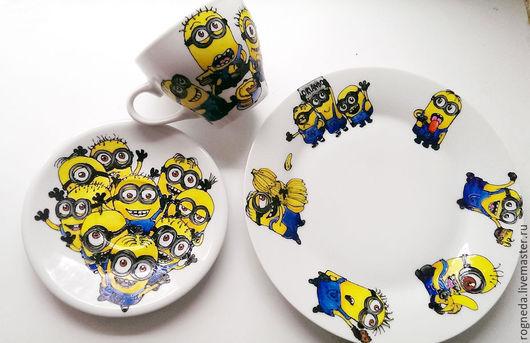"""Сервизы, чайные пары ручной работы. Ярмарка Мастеров - ручная работа. Купить Чайный набор """"Миньоны"""". Handmade. Желтый, мультфильм"""