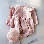 Работы для детей, handmade. Livemaster - original item Set for girl (linen Romper and cap). Handmade.