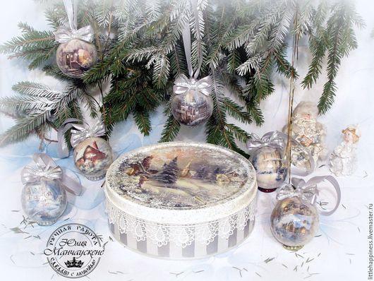 """Праздничная атрибутика ручной работы. Ярмарка Мастеров - ручная работа. Купить Набор шаров в коробке """"Эх, мороз, мороз"""". Handmade."""