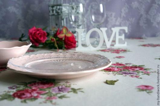 """Текстиль, ковры ручной работы. Ярмарка Мастеров - ручная работа. Купить Скатерть """"Романтика"""". Handmade. Розовый, скатерть прямоугольная, кухня"""